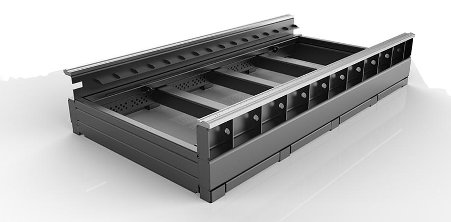 Segmented rectangular tube welded bed